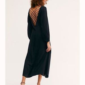 Free People Black Later Days Midi Flowy Dress